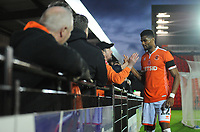Blackpool's Michael Nottingham shakes hands with fans after the final whistle<br /> <br /> Photographer Kevin Barnes/CameraSport<br /> <br /> Emirates FA Cup First Round - Exeter City v Blackpool - Saturday 10th November 2018 - St James Park - Exeter<br />  <br /> World Copyright &copy; 2018 CameraSport. All rights reserved. 43 Linden Ave. Countesthorpe. Leicester. England. LE8 5PG - Tel: +44 (0) 116 277 4147 - admin@camerasport.com - www.camerasport.com