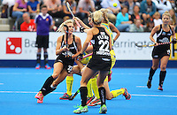 Charlotte Harrison (left) of the Black Sticks keeps eyes on the ball during the Women's Champions Trophy match between New Zealand v Australia at Lee Valley Hockey Centre, Olympic Park, England on 19 June 2016. Photo by Steve McCarthy / PRiME Media Images.