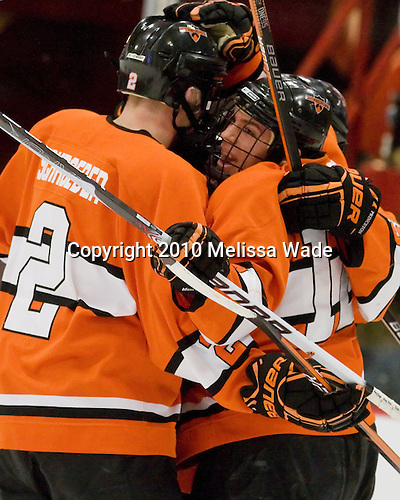 The Tigers celebrate Marc Hagel's (Princeton - 25) goal, his first of the season. - The Princeton University Tigers defeated the Harvard University Crimson 2-1 on Friday, January 29, 2010, at Bright Hockey Center in Cambridge, Massachusetts.