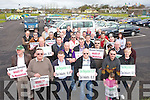 The Taxi drivers at the protest in Tralee on Monday..