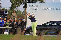 Marcel Siem (GER) tees off the par3 17th tee from the crowd during Sunday's Final Round of the 2014 BMW Masters held at Lake Malaren, Shanghai, China. 2nd November 2014.<br /> Picture: Eoin Clarke www.golffile.ie