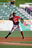 Altoona Curve third baseman Ke'Bryan Hayes (10) throws to first base during a game against the Richmond Flying Squirrels on May 15, 2018 at Peoples Natural Gas Field in Altoona, Pennsylvania.  Altoona defeated Richmond 5-1.  (Mike Janes/Four Seam Images)