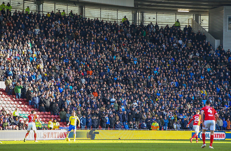 Leeds United fans watch on during the second half<br /> <br /> Photographer Alex Dodd/CameraSport<br /> <br /> The EFL Sky Bet Championship - Middlesbrough v Leeds United - Saturday 9th February 2019 - Riverside Stadium - Middlesbrough<br /> <br /> World Copyright &copy; 2019 CameraSport. All rights reserved. 43 Linden Ave. Countesthorpe. Leicester. England. LE8 5PG - Tel: +44 (0) 116 277 4147 - admin@camerasport.com - www.camerasport.com