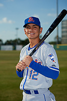St. Lucie Mets shortstop Andres Gimenez (12) poses for a photo before a game against the Florida Fire Frogs on April 19, 2018 at Osceola County Stadium in Kissimmee, Florida.  St. Lucie defeated Florida 3-2.  (Mike Janes/Four Seam Images)