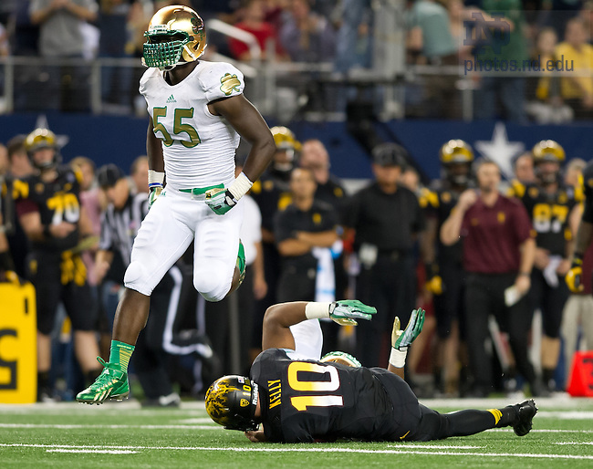 Oct. 5, 2013; Linebacker Prince Shembo (55) celebrates a sack in the Shamrock Series game against Arizona State.<br /> <br /> Photo by Matt Cashore