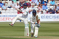 Stevie Eskinazi in batting action for Middlesex as James Foster looks on from behind the stumps during Essex CCC vs Middlesex CCC, Specsavers County Championship Division 1 Cricket at The Cloudfm County Ground on 26th June 2017