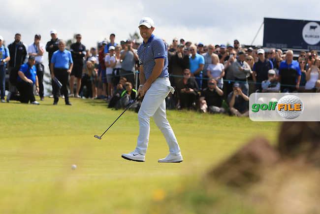 Rory McIlroy (NIR) on the 5th during Round 4 of the Aberdeen Standard Investments Scottish Open 2019 at The Renaissance Club, North Berwick, Scotland on Sunday 14th July 2019.<br /> Picture:  Thos Caffrey / Golffile<br /> <br /> All photos usage must carry mandatory copyright credit (© Golffile | Thos Caffrey)