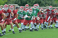 NWA Democrat-Gazette/MICHAEL WOODS &bull; @NWAMICHAELW<br /> University of Arkansas players get loose before the start of practice Thursday August 6, 2015 in Fayetteville.