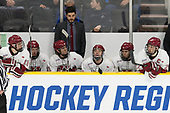 Nathan Krusko (Harvard - 13), Lewis Zerter-Gossage (Harvard - 77), Ty Pelton-Byce (Harvard - 11), Rob Rassey (Harvard - Assistant Coach), Ryan Donato (Harvard - 16), Frédéric Grégoire (Harvard - 71), Devin Tringale (Harvard - 22) - The Harvard University Crimson defeated the Air Force Academy Falcons 3-2 in the NCAA East Regional final on Saturday, March 25, 2017, at the Dunkin' Donuts Center in Providence, Rhode Island.