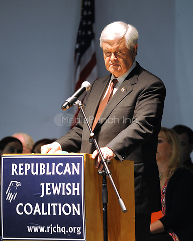 DELRAY BEACH, FL - JANUARY 27: Newt Gingrich, candidate for the 2012 Republican presidential nomination, appears during a support rally held by the Republican Jewish Coalition at the South County Civic Center on January 27, 2012 in Delray Beach, Florida<br /> <br /> <br /> People:  Newt Gingrich<br /> <br /> Transmission Ref:  MNC8<br /> <br /> Hoo-Me.com / MediaPunch