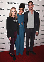 "HOLLYWOOD- DECEMBER 13:  Freeform Executive Vice President of Programming and Development Karey Burke, Yara Shahidi and Freeform President Tom Ascheim at the premiere of ""Grown-ish"" at Lure on December 13, 2017 in Hollywood, California. (Photo by Scott Kirkland/PictureGroup)"