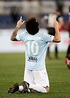 Calcio, Serie A: Lazio - Udinese, Roma, stadio Olimpico, 24 gennaio 2018.<br /> Lazio's Felipe Anderson celebrates after scoring during the Italian Serie A football match between Lazio and Udinese at Rome's Olympic stadium, January 24, 2018.<br /> UPDATE IMAGES PRESS/Isabella Bonotto