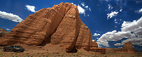 Unusual sandstone rock formations  like Temple Of The Moon and Temple Of The Sun are unique to Capitol Reef National Park, Utah