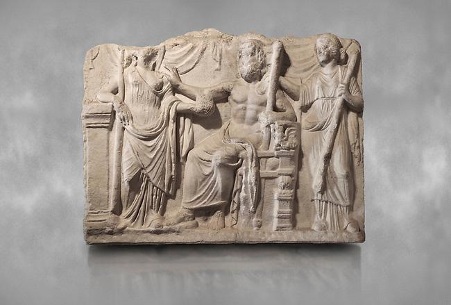 Roman relief sculpture of the Marriage of Zeus and Leto Hieros Gamos. Roman 2nd century AD, Hierapolis Theatre.. Hierapolis Archaeology Museum, Turkey
