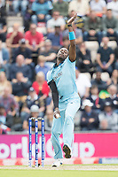 Jofra Archer (England) in action during England vs West Indies, ICC World Cup Cricket at the Hampshire Bowl on 14th June 2019