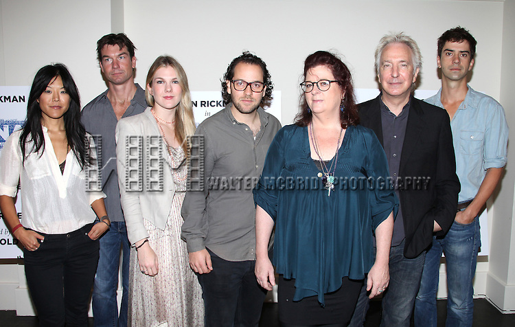 (LtoR) Hettienne Park, Jerry O'Connell, Lily Rabe, Director Sam Gold, Playwright Theresa Rebeck, Alan Rickman & Hamish Linklater.attending the New Broadway Production 'Seminar' Meet & Greet at the Foxwoods Rehearsal Studioa in New York City.