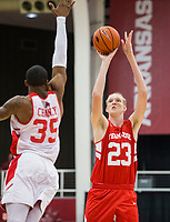 NWA Democrat-Gazette/BEN GOFF @NWABENGOFF<br /> Connor Vanover (23), Arkansas forward, shoots as Reggie Chaney, Arkansas forward, defends in the first half Saturday, Oct. 5, 2019, during the annual Arkansas Red-White Game at Barnhill Arena in Fayetteville.