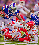 9 November 2014: Buffalo Bills wide receiver Marquise Goodwin is tackled after an 18-yard kickoff return in the fourth quarter against the Kansas City Chiefs at Ralph Wilson Stadium in Orchard Park, NY. The Chiefs rallied with two fourth quarter touchdowns to defeat the Bills 17-13. Mandatory Credit: Ed Wolfstein Photo *** RAW (NEF) Image File Available ***
