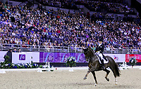 OMAHA, NEBRASKA - MAR 30: Kristy Oatley rides Du Soleil during the FEI World Cup Dressage Final II at the CenturyLink Center on April 1, 2017 in Omaha, Nebraska. (Photo by Taylor Pence/Eclipse Sportswire/Getty Images)