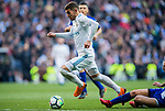 Theo Hernandez (L) of Real Madrid fights for the ball with Alexis Ruano Delgado of Deportivo Alaves during the La Liga 2017-18 match between Real Madrid and Deportivo Alaves at Santiago Bernabeu Stadium on February 24 2018 in Madrid, Spain. Photo by Diego Souto / Power Sport Images