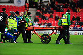 2nd December 2017, bet365 Stadium, Stoke-on-Trent, England; EPL Premier League football, Stoke City versus Swansea City;  Bruno Martins Indi of Stoke City is stretchered off in the second half