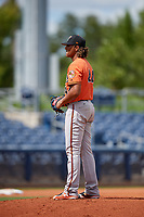 Baltimore Orioles pitcher Marcos Molina (44) looks in for the sign during a Florida Instructional League game against the Tampa Bay Rays on October 1, 2018 at the Charlotte Sports Park in Port Charlotte, Florida.  (Mike Janes/Four Seam Images)
