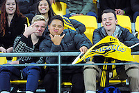 Fans in the grandstand during the Super Rugby match between the Hurricanes and Sharks at Westpac Stadium, Wellington, New Zealand on Saturday, 9 May 2015. Photo: Dave Lintott / lintottphoto.co.nz