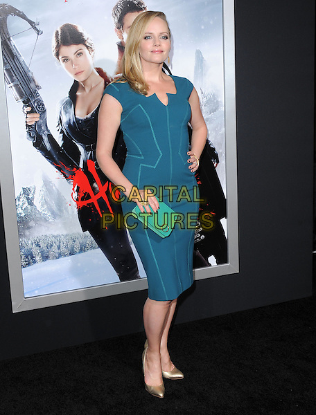 Marley Shelton.attending the Paramount Los Angeles film premiere of 'Hansel and Gretel: Witch Hunters', held at The Grauman's Chinese Theater in Hollywood, California, USA, January 24th 2013..full length blue teal dress on hip green clutch bag hand ring turquoise gold shoes                                        .CAP/DVS.©Debbie VanStory/Capital Pictures.