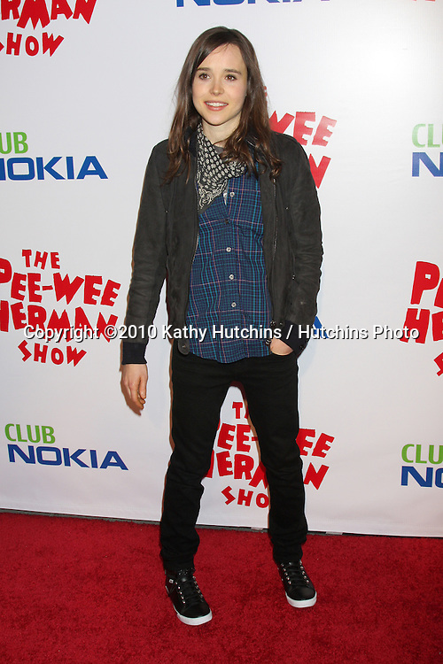 """Ellen Page.arriving at the """"The Pee Wee Herman Show"""" Opening Night..Club Nokia.Los Angeles, CA.January 20, 2010.©2010 Kathy Hutchins / Hutchins Photo...."""
