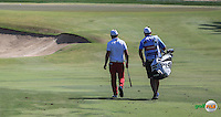 Andy Sullivan (ENG) and caddie Sean head to the 3rd during the Final Round of the 2016 Omega Dubai Desert Classic, played on the Emirates Golf Club, Dubai, United Arab Emirates.  07/02/2016. Picture: Golffile | David Lloyd<br /> <br /> All photos usage must carry mandatory copyright credit (&copy; Golffile | David Lloyd)