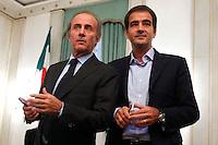 Andrea Ronchi e Raffaele Fitto<br /> Roma 24-09-2015 Incontro 'Per l'Italia - Ricostruiamo il centrodestra'.<br /> Photo Samantha Zucchi Insidefoto