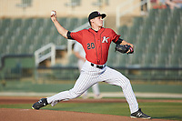 Kannapolis Intimidators starting pitcher Jonathan Stiever (20) in action against the Delmarva Shorebirds at Kannapolis Intimidators Stadium on June 4, 2019 in Kannapolis, North Carolina. The Intimidators defeated the Shorebirds 9-0. (Brian Westerholt/Four Seam Images)