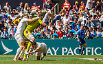 England vs Australia during the HSBC Sevens Wold Series Plate Semi Finals match as part of the Cathay Pacific / HSBC Hong Kong Sevens at the Hong Kong Stadium on 29 March 2015 in Hong Kong, China. Photo by Manuel Bruque / Power Sport Images