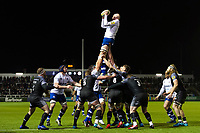 Matt Garvey of Bath Rugby wins the ball at a lineout. Aviva Premiership match, between Newcastle Falcons and Bath Rugby on February 16, 2018 at Kingston Park in Newcastle upon Tyne, England. Photo by: Patrick Khachfe / Onside Images