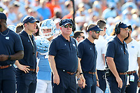 CHAPEL HILL, NC - SEPTEMBER 28: Head coach Mack Brown of the University of North Carolina watches the game during a game between Clemson University and University of North Carolina at Kenan Memorial Stadium on September 28, 2019 in Chapel Hill, North Carolina.