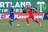 Portland, OR - Saturday May 06, 2017: Amandine Henry, Merritt Mathias during a regular season National Women's Soccer League (NWSL) match between the Portland Thorns FC and the Chicago Red Stars at Providence Park.