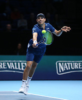 Mike Bryan in action with partner Jack Sock during their match against Pierre-Hughes Herbert and Nicolas Mahut in their doubles Final match today<br /> <br /> Photographer Rob Newell/CameraSport<br /> <br /> International Tennis - Nitto ATP World Tour Finals Day 8 - O2 Arena - London - Sunday 18th November 2018<br /> <br /> World Copyright &copy; 2018 CameraSport. All rights reserved. 43 Linden Ave. Countesthorpe. Leicester. England. LE8 5PG - Tel: +44 (0) 116 277 4147 - admin@camerasport.com - www.camerasport.com