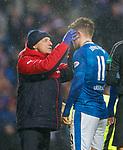 Rangers doc paul Jackson applying a Vulcan mind meld to Josh Windass