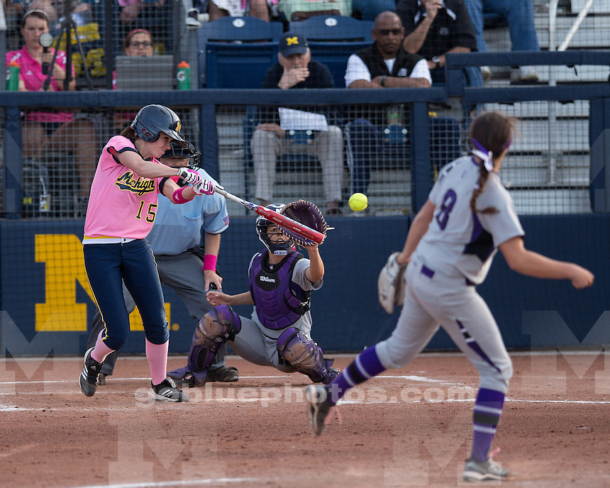 The University of Michigan women's softball team clinched the Big Ten title with a 2-1 win over Northwestern at Alumni Field (Wilpon Complex) in Ann Arbor, Mich., on May 3, 2013.