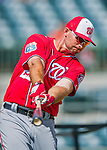 15 March 2016: Washington Nationals first baseman Clint Robinson awaits his turn in the batting cage prior to a Spring Training pre-season game against the Houston Astros at Osceola County Stadium in Kissimmee, Florida. The Nationals defeated the Astros 6-4 in Grapefruit League play. Mandatory Credit: Ed Wolfstein Photo *** RAW (NEF) Image File Available ***