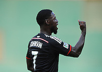 Washington D.C. - July 30, 2014: Eddie Johnson (7) of D.C. United celebrates his score. D.C. United defeated the Toronto FC 3-1 during a Major League Soccer match for the 2014 season at RFK Stadium.