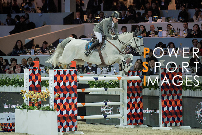 Philipp Weishaupt of Germany riding Solitaer competes during the Hong Kong Jockey Club Trophy competition, part of the Longines Masters of Hong Kong on 10 February 2017 at the Asia World Expo in Hong Kong, China. Photo by Weixiang Lim / Power Sport Images