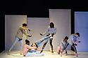 "Breakin' Convention presents Piere Rigal's ""Scandale"", at Sadler's Wells. Dancers are: Amélie Jousseaume, Tony 'No Script' Ndoumba, Camille 'Kami' Regneault, Julien 'Bee-D' Saint-Maximin, Steve Kamseu. Musician: Gwenaël Drapeau (drummer)."