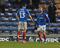 Marcus Harness of Portsmouth right is congratulated by James Bolton of Portsmouth on scoring the second goal to make the score 2-1 during Portsmouth vs Northampton Town, Leasing.com Trophy Football at Fratton Park on 3rd December 2019