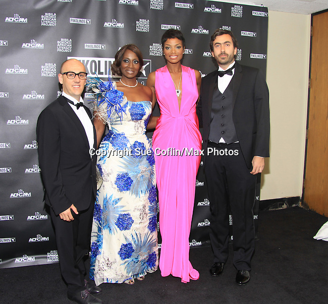 Juan Manuel Peran, Bisila Bokoko, Tai Beauchamp, George Bassoul - A Gala Dinner hosted by Pikolinos to benefit Maasai African Tribe was held on April 17, 2013 at the United Nations Delegates Dining Room, New York City, New York. (Photo by Sue Coflin/Max Photos)