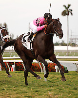 Corporate Jungle withjockey Javier Castellano up winning the Appleton Stakes(G3T). Gulfstream Park Hallandale Beach Florida. 03-31-2012. Arron Haggart/Eclipse Sportswire
