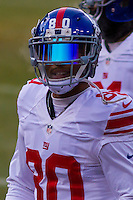 New York Giants wide receiver Victor Cruz (80) prior to a game against the Green Bay Packers on January 8th, 2017 at Lambeau Field in Green Bay, Wisconsin.  Green Bay defeated New York 38-13. (Brad Krause/Krause Sports Photography)