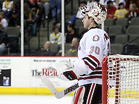 Nebraska-Omaha goalie John Faulkner. (Photo by Michelle Bishop) .