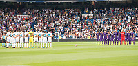 Real Madrid's players Fiorentina's players keep silence minute to victims of terrorist attack on Barcelona during XXXVIII Santiago Bernabeu Trophy at Santiago Bernabeu Stadium in Madrid, Spain August 23, 2017. (ALTERPHOTOS/Borja B.Hojas) /NortePhoto.com