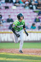 Eugene Emeralds first baseman Grant Fennell (21) runs down the first base line during a Northwest League game against the Salem-Keizer Volcanoes at Volcanoes Stadium on August 31, 2018 in Keizer, Oregon. The Eugene Emeralds defeated the Salem-Keizer Volcanoes by a score of 7-3. (Zachary Lucy/Four Seam Images)